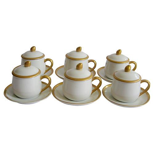 Gilt Porcelain Pots de Crème, S/6