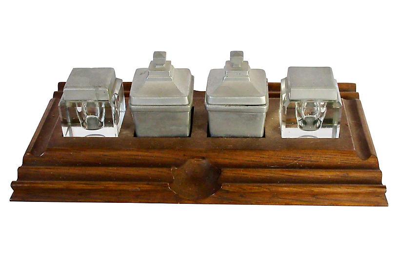 Pewter & Glass Desk Set