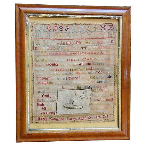 Framed 19th-C. Sampler
