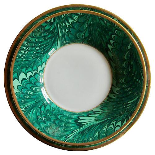 Emerald Porcelain Plates, S/2
