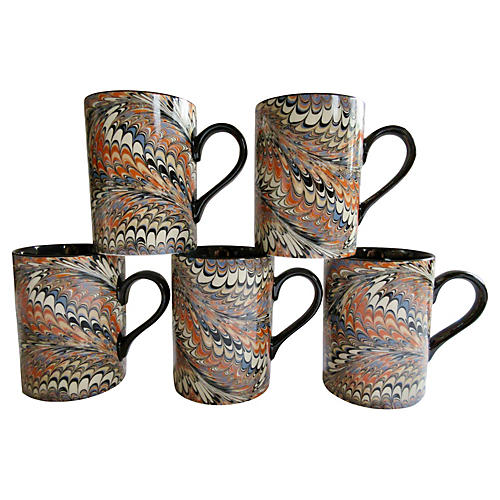 Porcelain Feather-Glaze Mugs, S/5