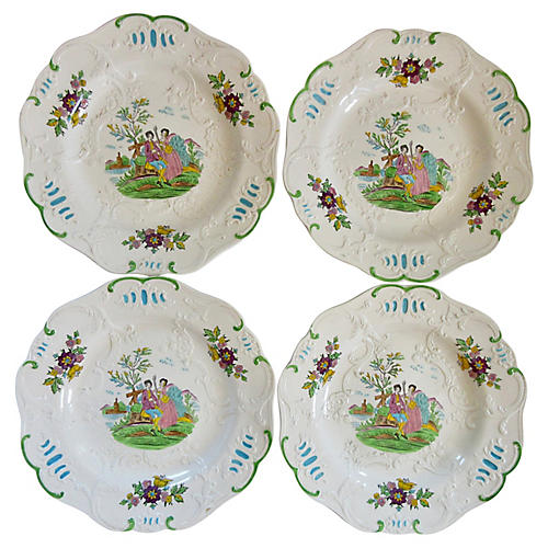 Minton English Hand-Painted Plates, S/4
