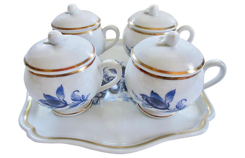 Ginori Porcelain Pots de Crème & Tray