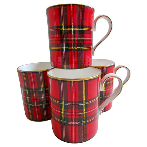 Ralph Lauren English Tartan Mugs, S/4