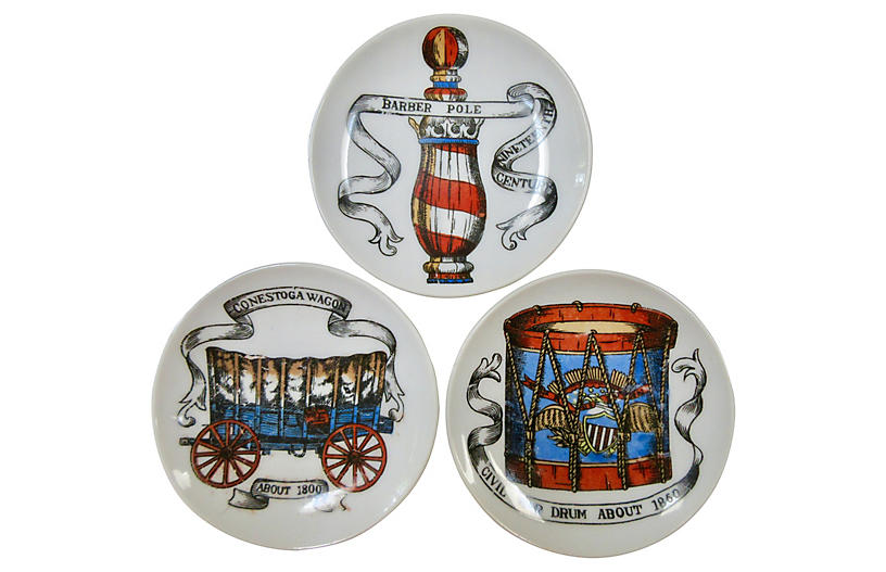 1960s Fornasetti-Style Coasters, S/4