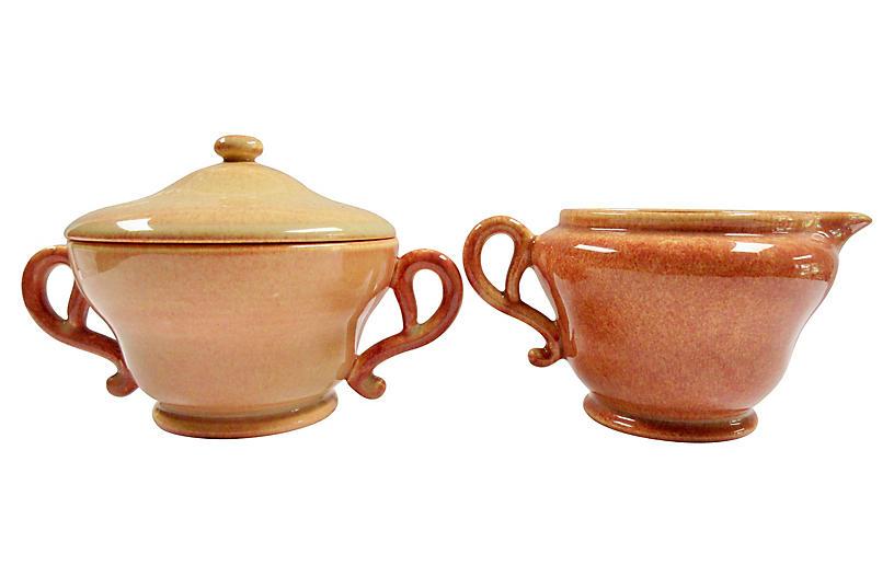 1940s California Pottery Sugar & Creamer
