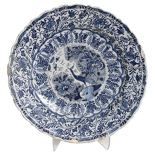 18th-C. Delft Chinoiserie Platter