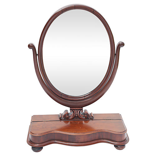 19th-C. English Mahogany Dresser Mirror