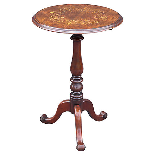 French Marquetry Inlay Pedestal Table