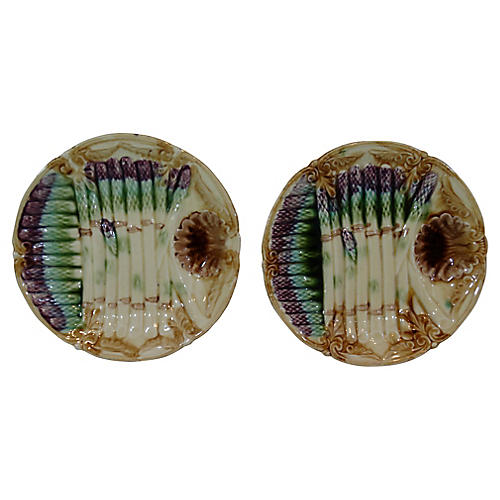 French Majolica Asparagus Plates, Pair
