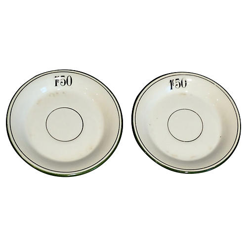 French Franc Bistro Tab Plates, S/2