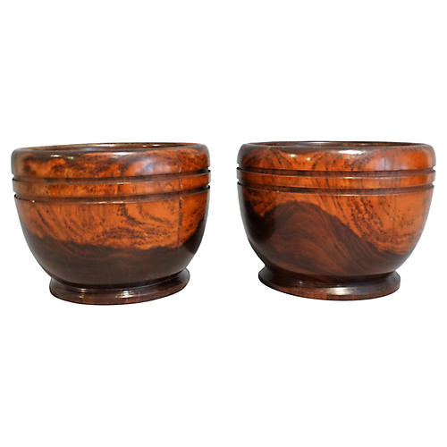 Antique English Lignum Vitae Bowls, Pair