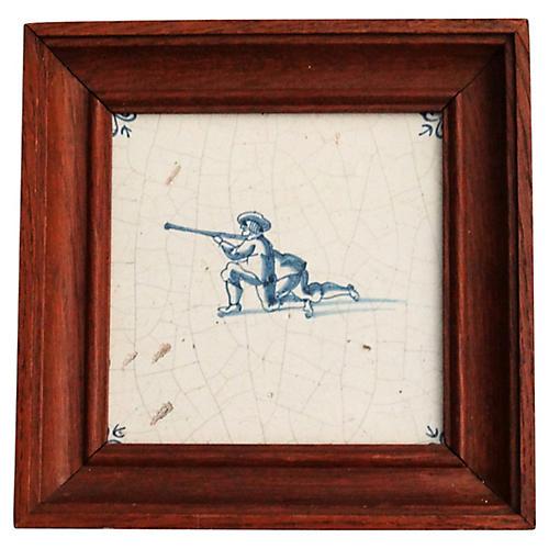 18th-C Dutch Delft Tile w/ Rifleman