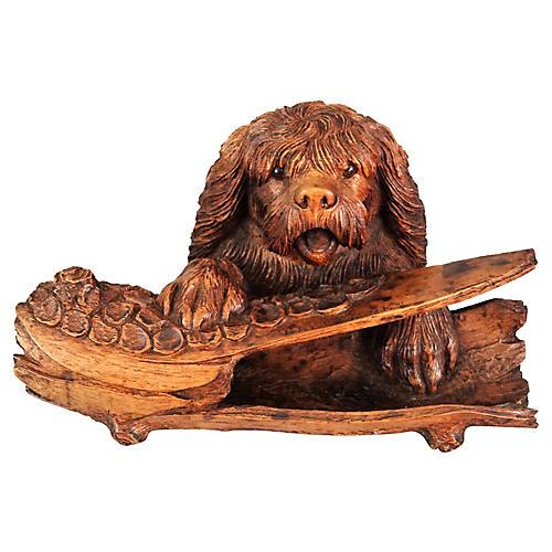 Antique Black Forest Carved Dog Inkwell