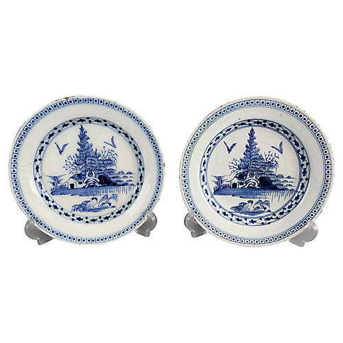 18th-C. English Delft Plates, Pair