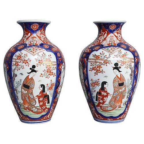 19th-C. Imari Porcelain Vases, S/2
