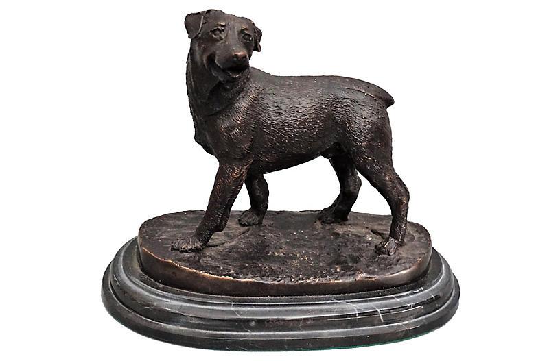 bronze rottweiler dog sculpture faded rose antiques llc. Black Bedroom Furniture Sets. Home Design Ideas