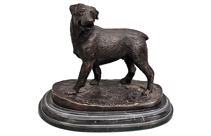 Bronze Rottweiler Dog Sculpture