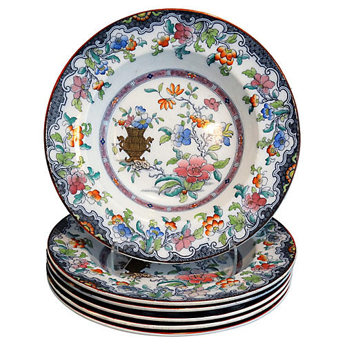 19th-C. English Chinoiserie Plates, S/6