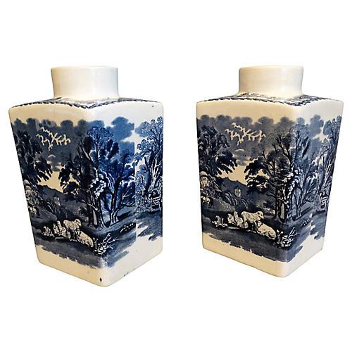 Booths British Scenery Vases, Pair
