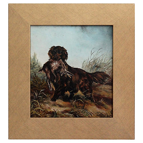 Spaniel Sporting Dog Study Oil on Board