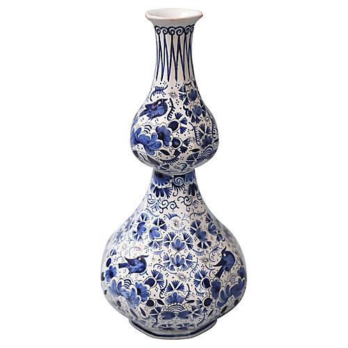 Antique Delft Double Gourd Vase