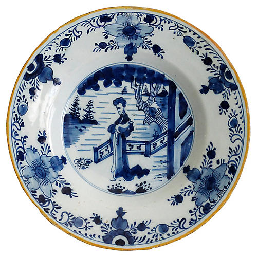 18th-C. Long Eliza Delft Plate