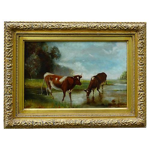 Antique Cattle in a Stream