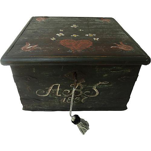 Swedish Bride's Box w/ Key, 1836
