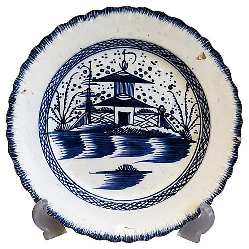 Circa 1790, Chinoiserie Pearl Ware Plate
