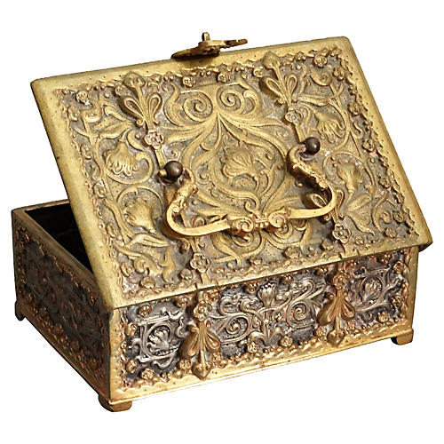 Antique French Bronze Ropousse Box