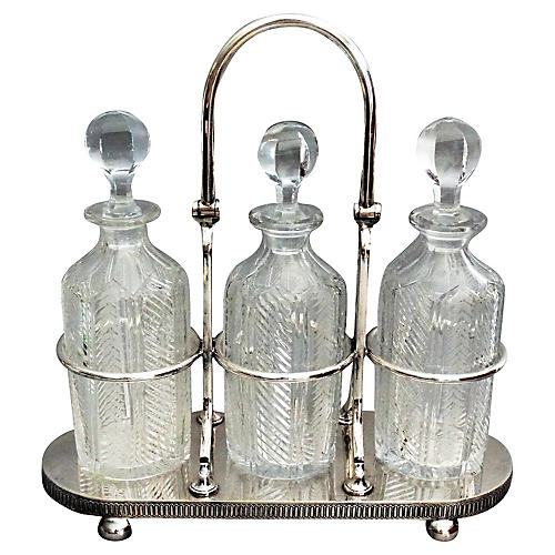 Silver Plate & Crystal Liquor Tantalus