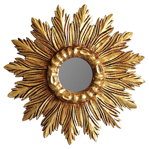 French Carved Wood Sunburst Mirror