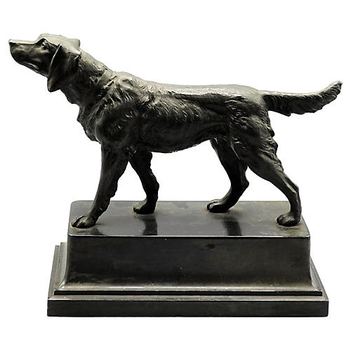 French Sporting Dog Statue, C. 1900