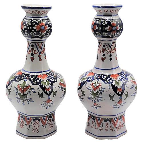 Antique Dutch Delft Knobble Vases, Pair