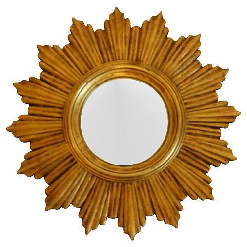 French Gilt Convex Sunburst Mirror