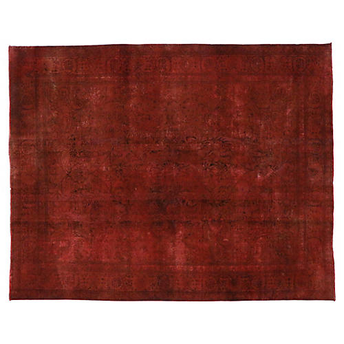 Red Overdyed Persian Rug, 9'7 x 12'2