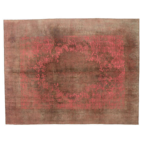 """Overdyed Coral Carpet, 9'9"""" x 12'5"""""""