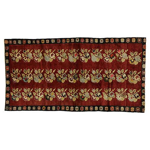 Vintage Turkish Oushak Rug, 4'10 x 9'1