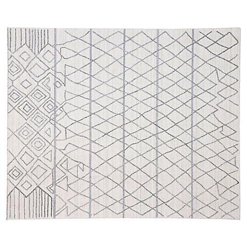 Gray Moroccan Print Rug, 8'1 x 9'9