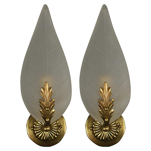 Italian Glass Foliate Sconces, Pair