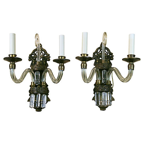 French Crystal Double-Arm Sconces, Pair