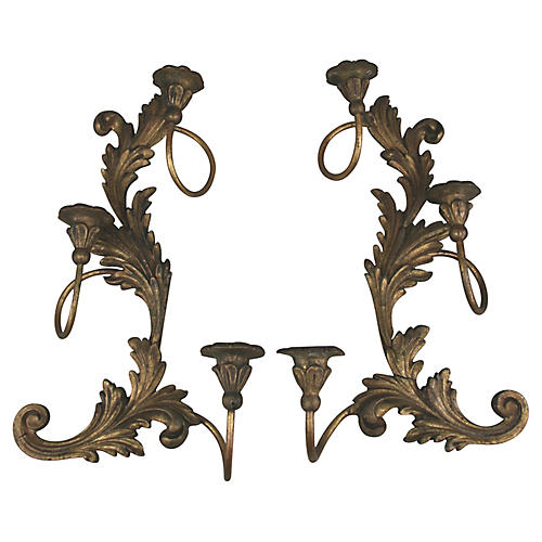 Italian Carved Sconces, S/2