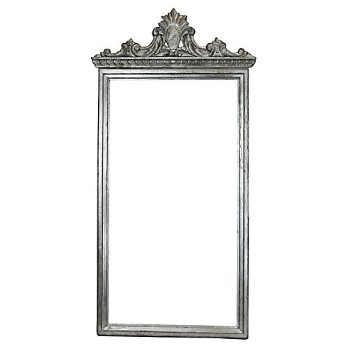 Carved-Top Silver Mirror