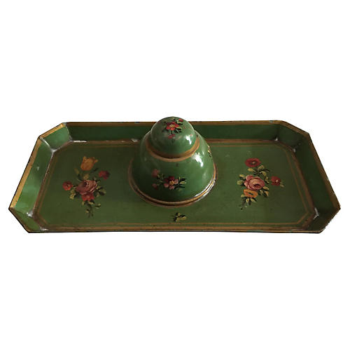 French Hand-Painted Tole Inkstand