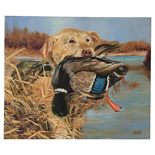 """""""Mallard Hunt"""" Oil Painting"""