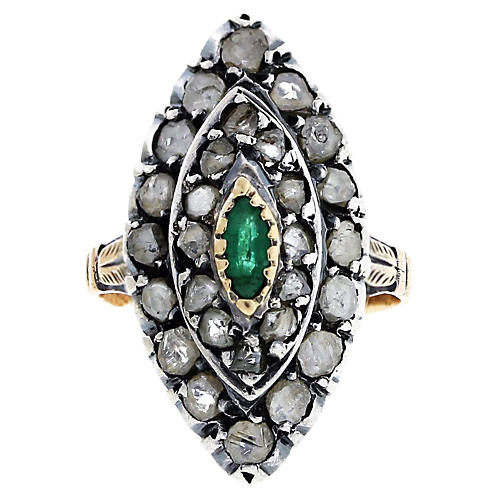 18K Gold Emerald Diamond Ring