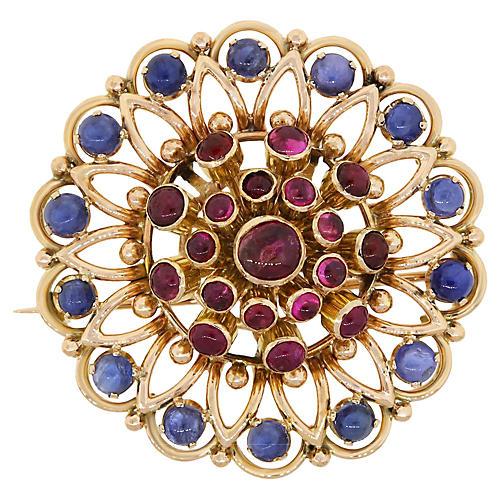 14K Gold Sapphire & Ruby Brooch