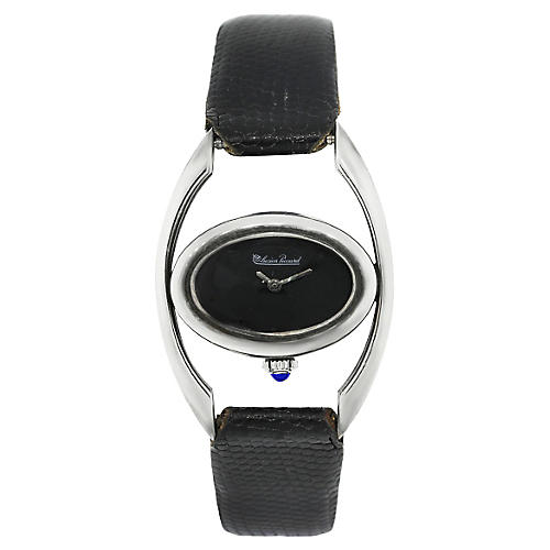 Lucien Piccard SS Black Leather Watch