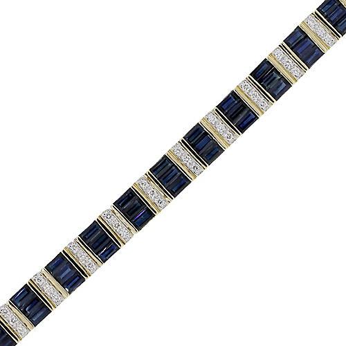 Gold, Diamond & Sapphire Bracelet